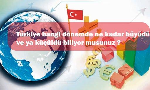 Dönemlere göre Türkiye' nin büyüme ve küçülme rakamları